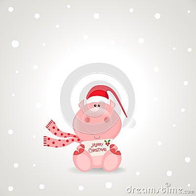 拿着一圣诞快乐符号的滑稽的玫瑰色猪庆祝季节.
