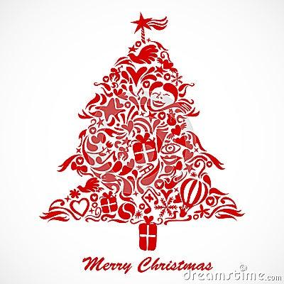 圣诞节红色结构树