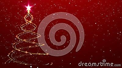 圣诞节背景树给背景落的雪赋予生命 股票录像