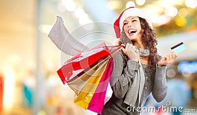 圣诞节购物。 销售额