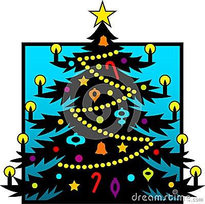 圣诞节eps剪影结构树
