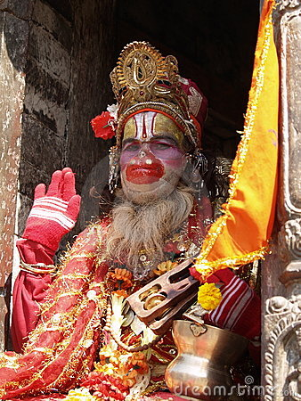 圣洁尼泊尔sadhu 图库摄影片