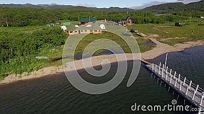在一个美丽的湖的航空飞行 影视素材
