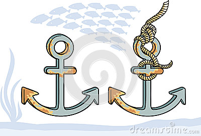 在两个变形的船锚