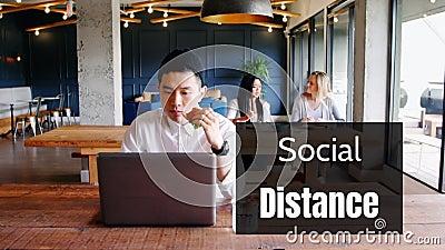 在咖啡馆工作的人与人社交距离的动画 股票视频