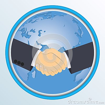 在地球的背景的握手 也corel凹道例证向量.图片