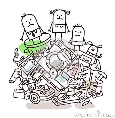 在堆的动画片家庭垃圾.图片