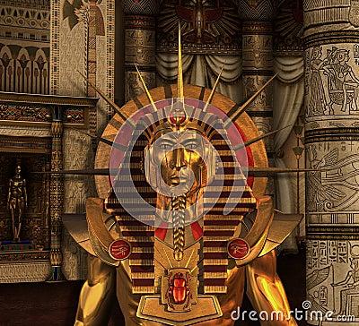 免版税  从古老埃及的一scenec有在墓室的一个法老王雕象的- 3d回报.