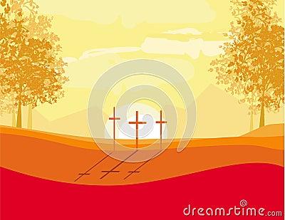在小山的十字架在日落