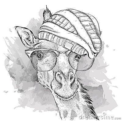 在帽子的手长颈鹿 也corel凹道例证向量.