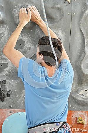 在攀岩的竞争 图库摄影片