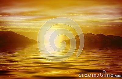 在日出的海洋桔子