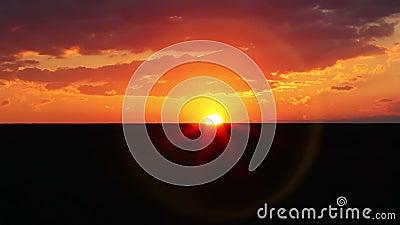 在日落的横向