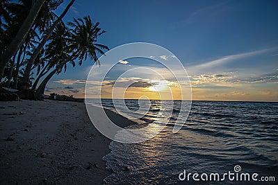 在日落的热带海滩