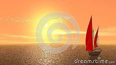 在橙色日出的帆船 股票录像