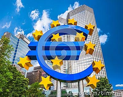 在欧洲央行的欧洲标志在法兰克福,德国图片