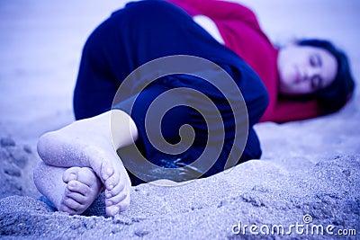 在沙子的寒冷