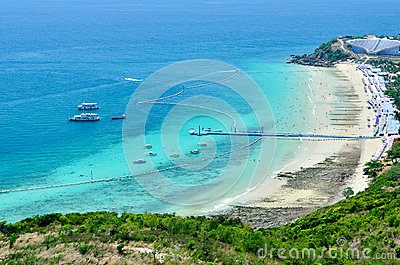 在海滩的全景和活动
