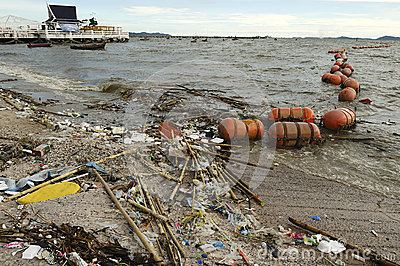 在海滩的垃圾