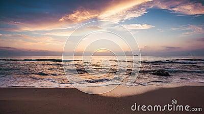 在海滩的日出,录影