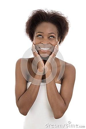 美国少妇木耳b图_在白色背景的愉快的被隔绝的黑人美国黑人的少妇.