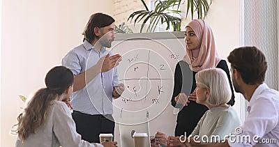 在研讨会期间,两个不同的演示者团队解释项目计划 股票录像