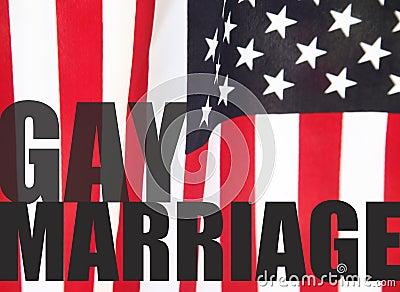 在美国国旗的同性恋婚姻字