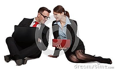 在膝上型计算机的夫妇