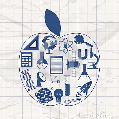 在苹果的套各种各样的科学标志和标志在脏的背景塑造.