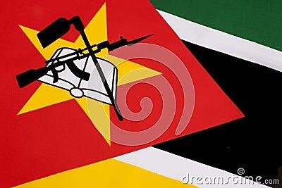 在莫桑比克的旗子的细节
