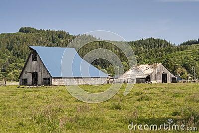 在谷仓的蓝色屋顶