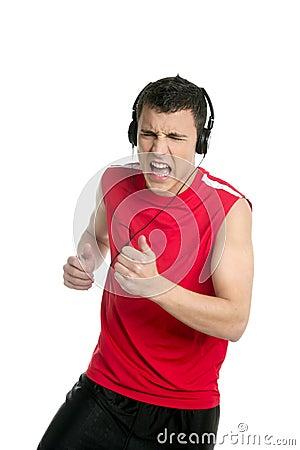 在运行的空白年轻人的英俊的跑步的&#