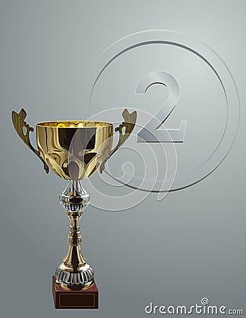 在银色背景的竞争杯子