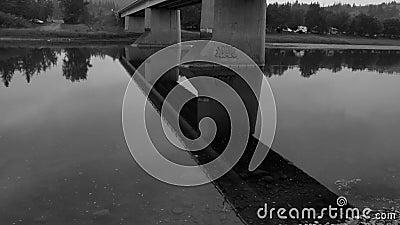在雷德迪尔河的黑白桥梁 股票录像