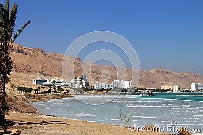 在死海的举世闻名的疗养地复合体 编辑类库存照片