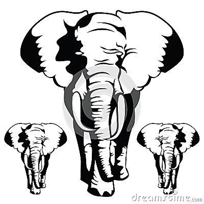 传染媒介例证:在黑白样式的大象.图片