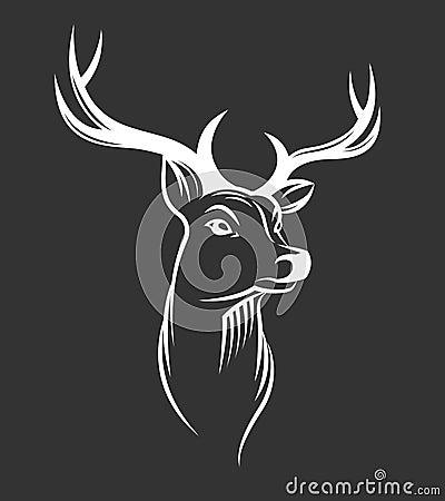 在黑背景的鹿头 编辑可能的向量例证.