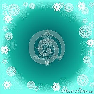 在绿色背景的圣诞树与雪花