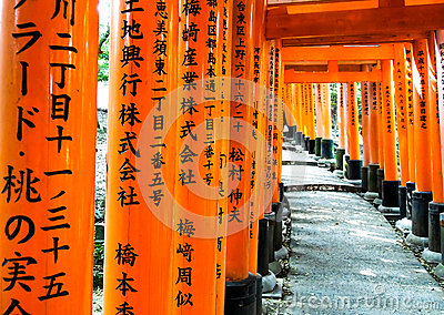 在Fushimi-Inari寺庙1的Torii门