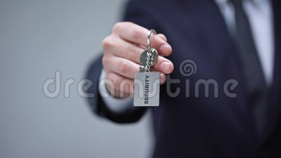 在keychain的安全词在商人手,家庭安全保护系统,卫兵服务上 影视素材