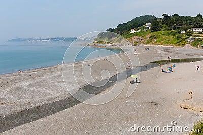 在Looe英国,联合王国附近的西顿海滩康沃尔郡 图库摄影片