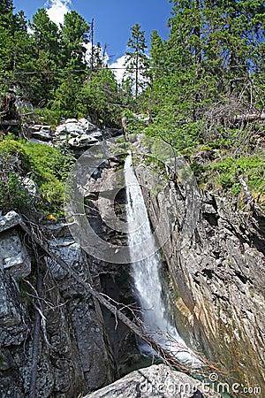 在Mala studena dolina -在高Tatras,斯洛伐克的谷的瀑布