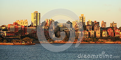 地平线Kirribilli在日落的悉尼 编辑类库存照片
