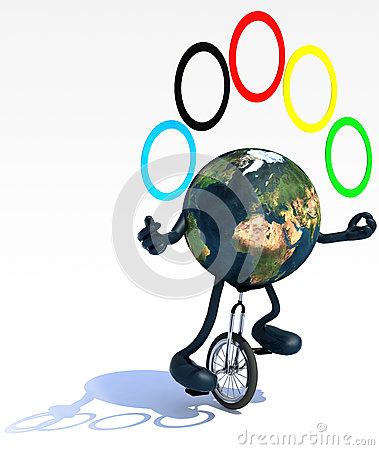 地球玩杂耍与胳膊,并且腿乘坐单轮脚踏车