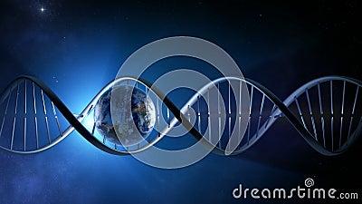 地球的抽象动画在-使成环的一条发光的脱氧核糖核酸子线里面的