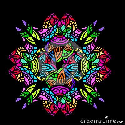 装饰与坛场的颜色卡片仿照在黑背景的彩色玻璃样式 印地安人,阿拉伯