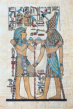 与法老王和古老埃及标志fugure的埃及纸莎草.