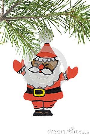基督手画圣诞老人木头