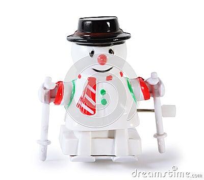空白塑料在空白背景查出的滑雪的玩具机械雪人.