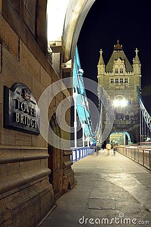 塔桥梁透视图在晚上,伦敦,英国